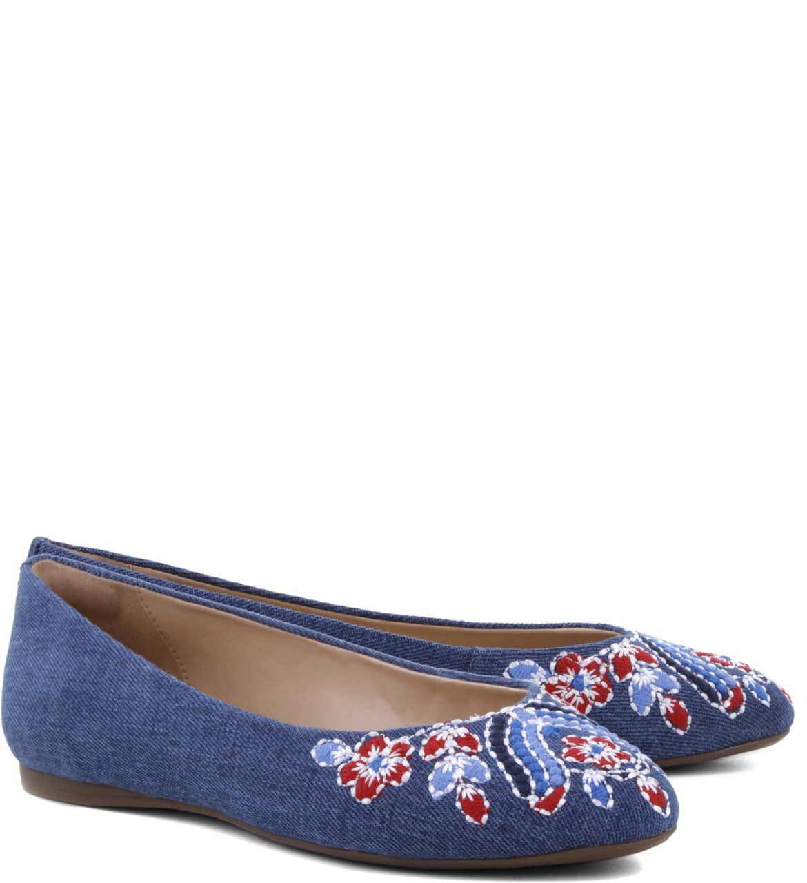 Sapatilha Bordado Flower Denim | Arezzo