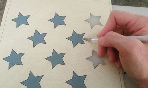 Pallet Flag Star Template Using Powerpoint On Her Computer Copy