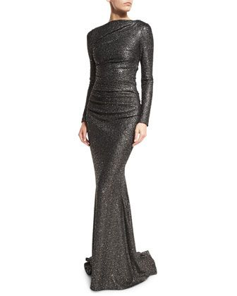 Dorango+Long-Sleeve+Boat-Neck+Sequined+Gown,+Dark+Silver+by+Talbot+Runhof+at+Neiman+Marcus.
