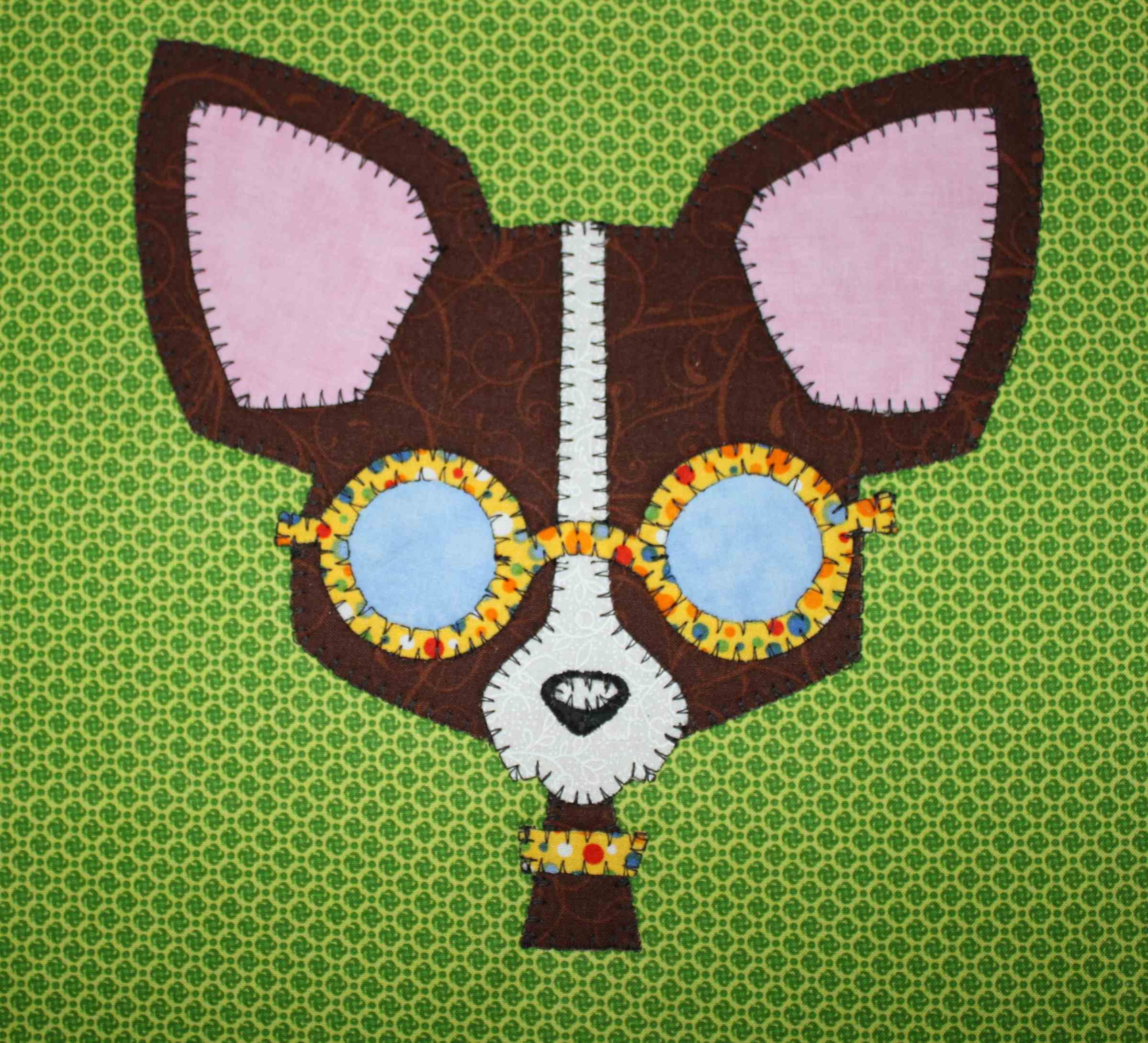 Chihuahua quilted applique wall hanging.  Dog quilt.
