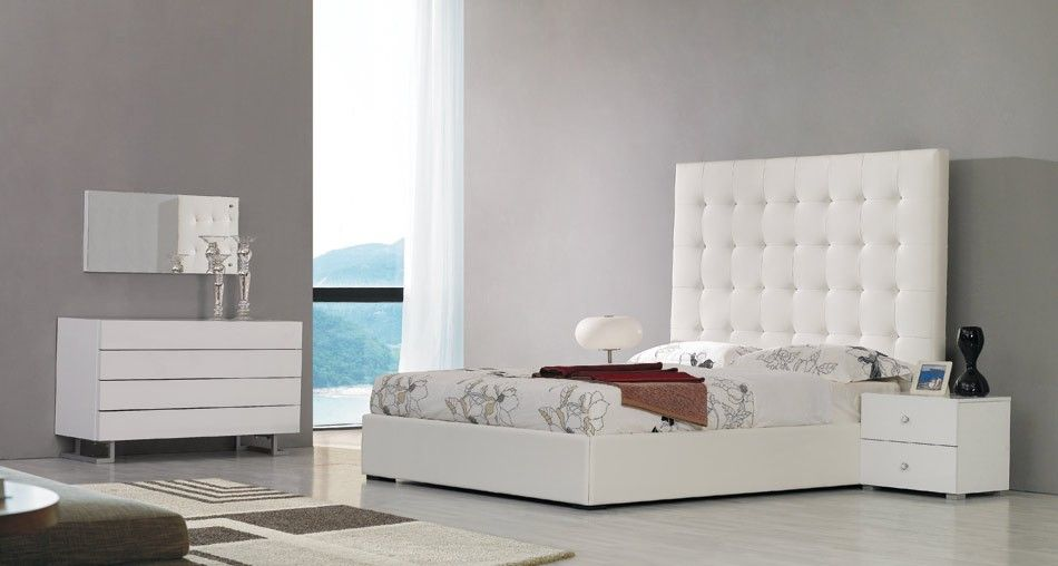Exceptional Lyrica White Eco Leather Tall Headboard Platform Bed