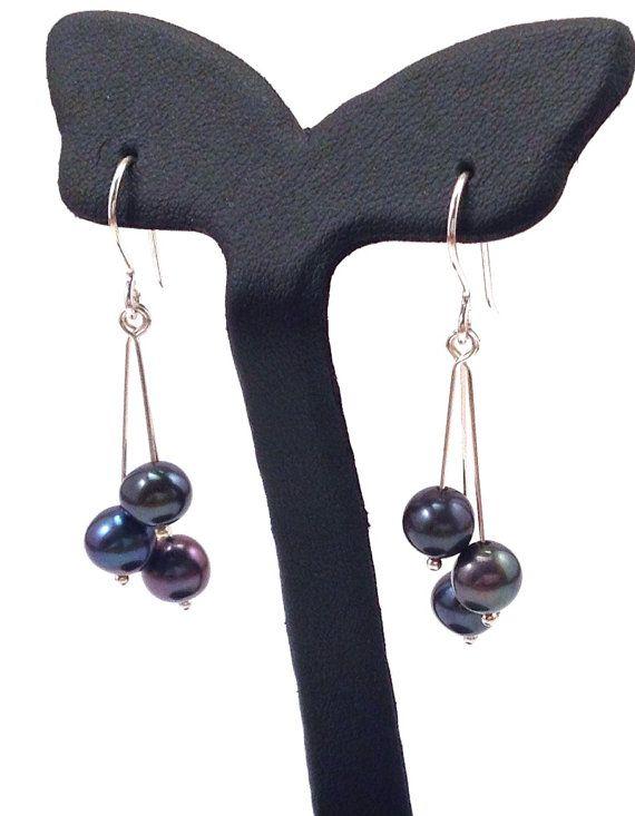 Black / White Pearl Dangly Earrings in Solid by OrionSilverworks, $24.00