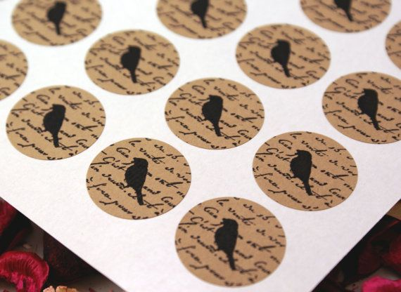 Vintage Style FRENCH SCRIPT & BIRD Mini 1 inch round Kraft Circle Stickers for invitations, weddings