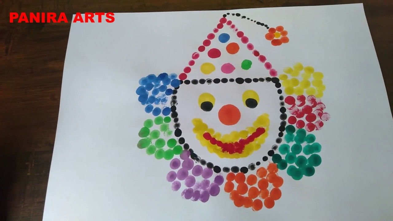 How To Draw Simple Joker Using Finger Painting Joker Drawing For Kids In 2020 Finger Painting Joker Art Drawing Joker Drawings