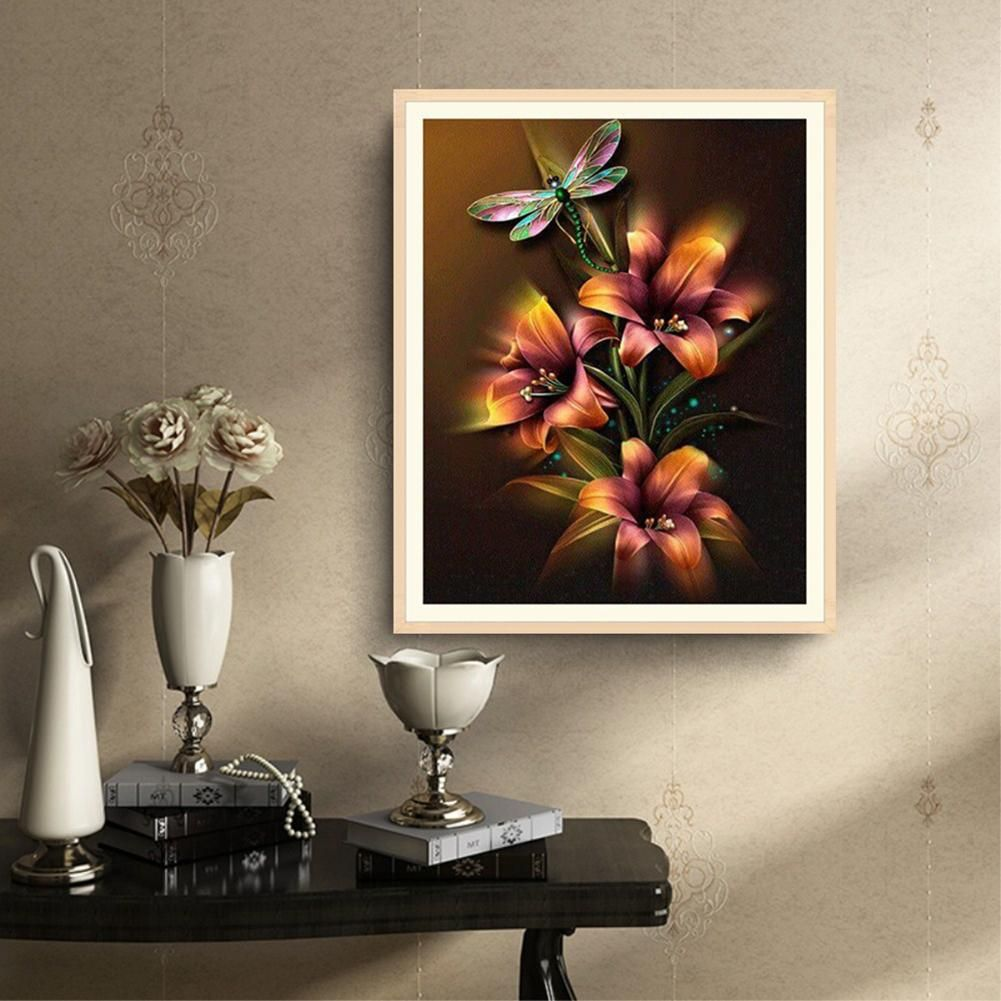 Photo of Dragonfly Flower DIY 5D Resin Partial Diamond Painting Cross Stitch Home Decor – as the picture r