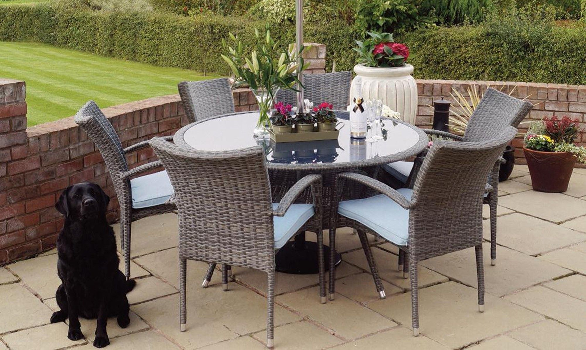 ocean drive 135cm round table chairs grey rattan fishpools