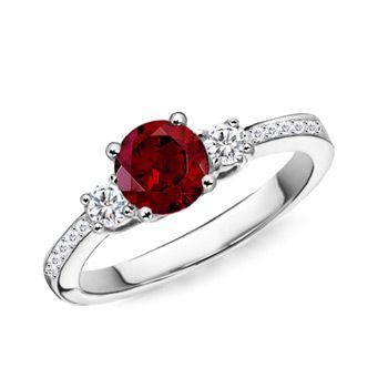 Angara Airline Set Ruby and Diamond Three Stone Ring in Platinum FbkfT
