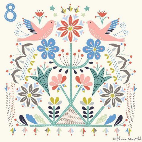 Little pink birds for Day 8 xx #illustration #christmas #christmasadvent #florawaycott