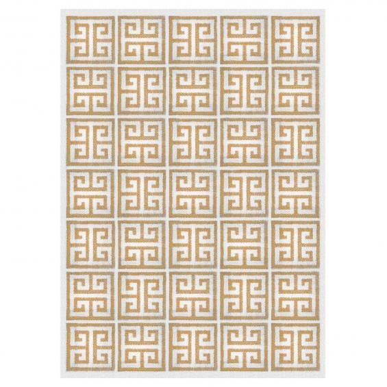 Camel Greek Key Peruvian Llama Flat Weave Rug