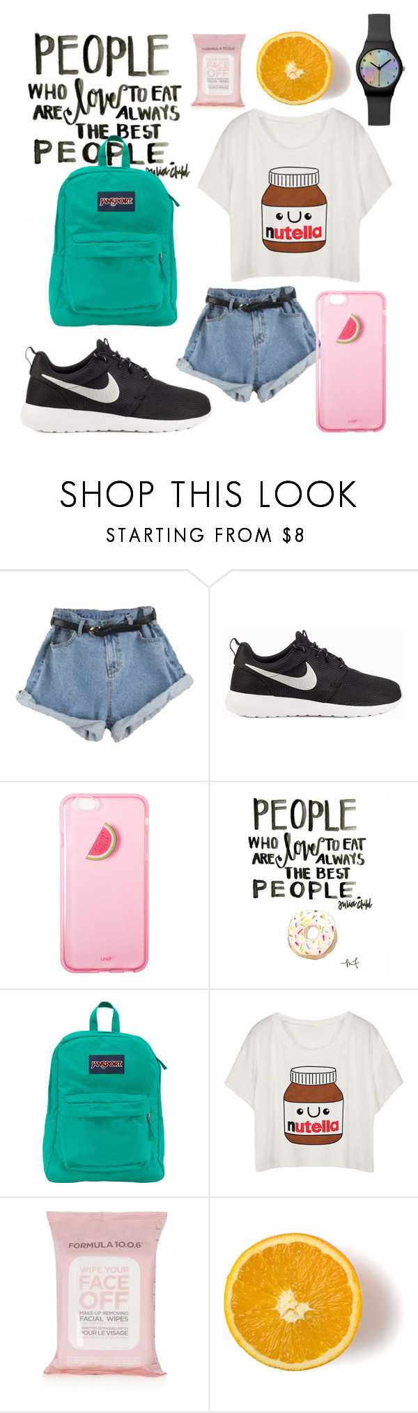 """""""hot  day"""" by senlinn ❤ liked on Polyvore featuring beauty, NIKE, JanSport and Topshop"""