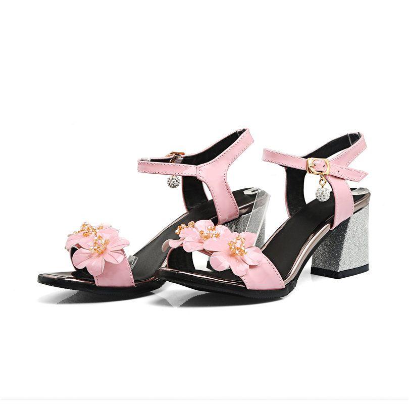 720e886326c2 Plus Large Size Casual Dress Women Sandals Flower Patent Leather Medium High  Block Hoof Heels Open Toe Party Summer Ladies Shoes