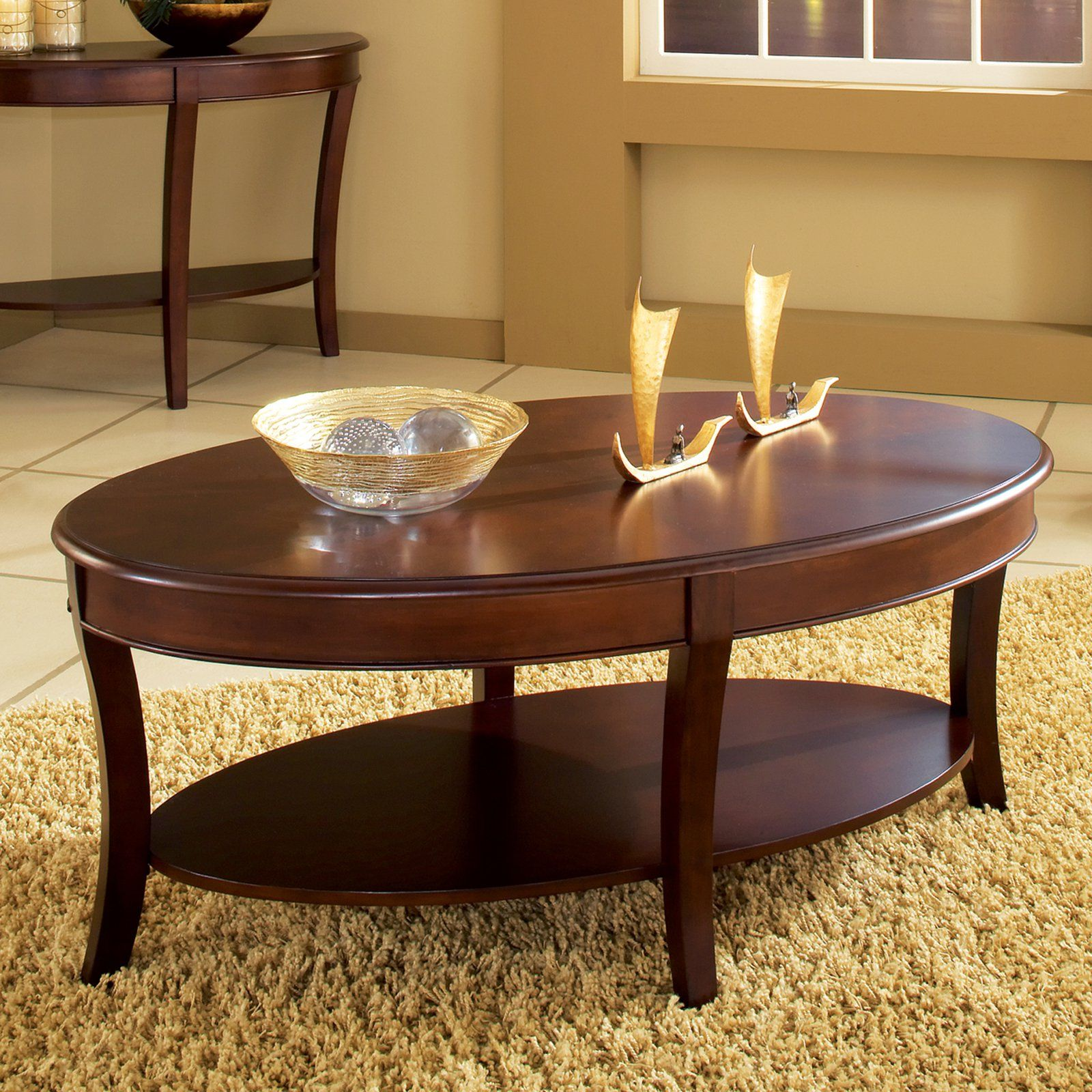 Steve Silver Troy Oval Cherry Wood Coffee Table From