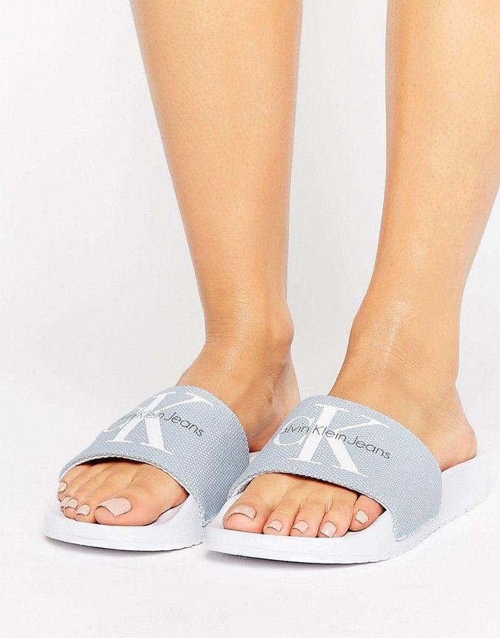 49a70e961a23eb Calvin Klein Jeans Chantal Chambray Blue Pool Slides