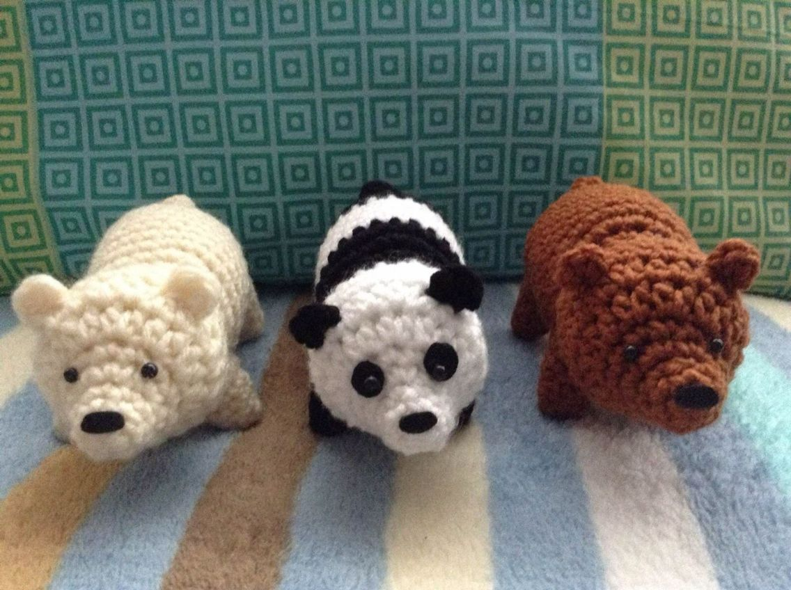 Oso Panda Amigurumi Patron Gratis : Crochet brown bear polar bear and panda. free pattern