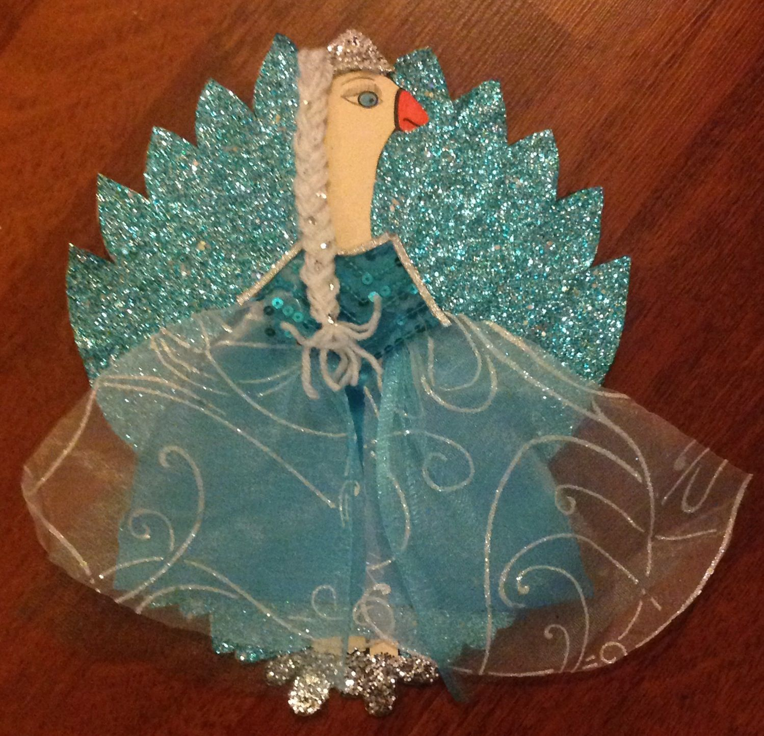 turkey in disguise as elsa by my daughter and me we did it