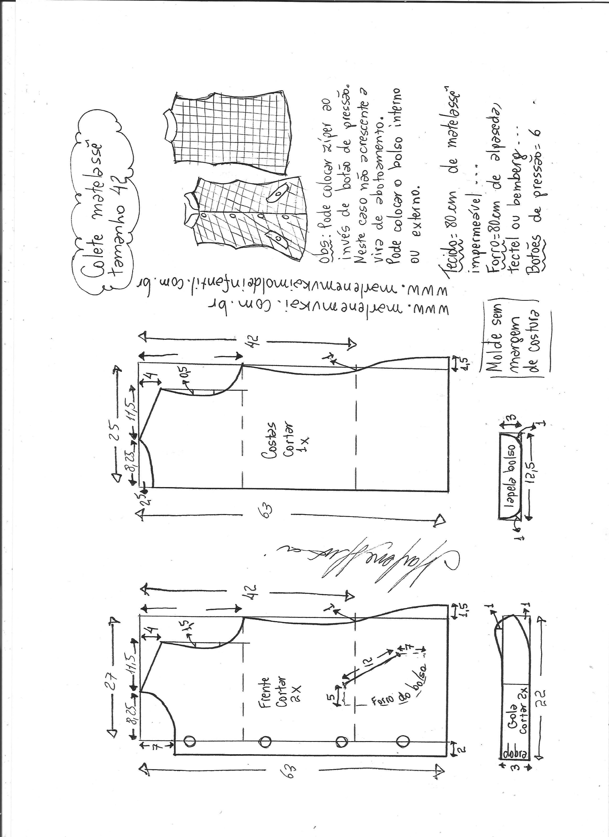 Colete matelassê | Patrón Blusas | Pinterest | Costura, Ropa y Vestidos