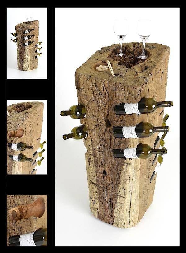 Tronco porta vino tronco in legno porta vino oggetti for Oggetti in legno fai da te