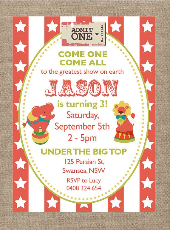 Vintage Circus Party Invitation  Customised  Circus Party