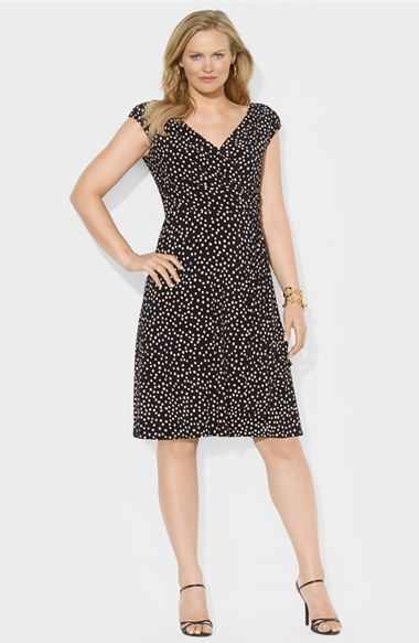 0cc98172082 Lauren Ralph Lauren Dot Print Cap Sleeve Matte Jersey Dress (Plus Size)  available at  Nordstrom