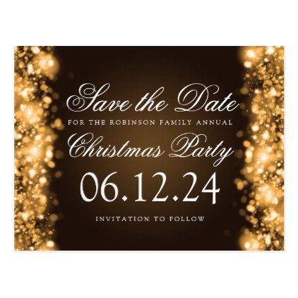 Christmas Save The Date Sparkling Lights Gold Announcement Postcard Zazzle Com Sparkling Lights Christmas Save The Date Elegant Christmas Party