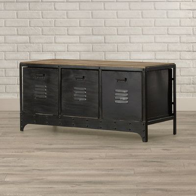 Sturdy And Tough Industrial Furniture.  Great Storage And Sitting Capacity  Addition.  Back And Sides Feature An Empty, Metal Frame