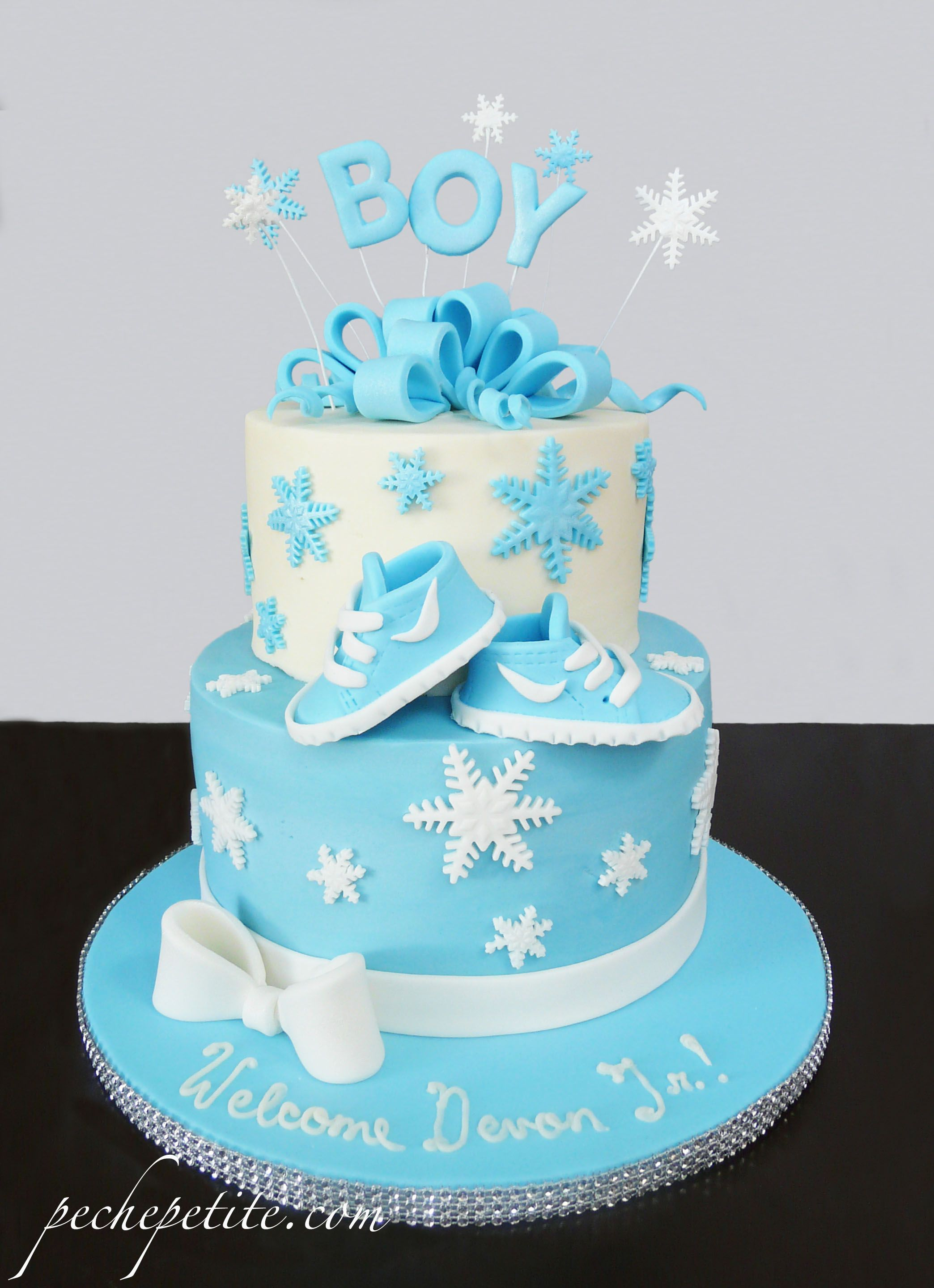 Winter Themed Baby Boy Shower Cake