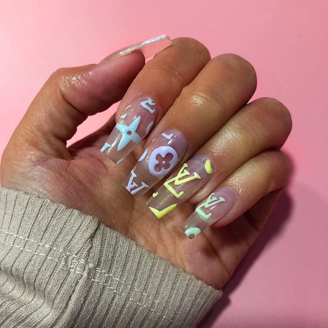 Joely Frain On Instagram Pastel Louis Vuitton Infills For Riverrfallon Nail Nails In 2020 Pretty Acrylic Nails Louis Vuitton Nails Best Acrylic Nails