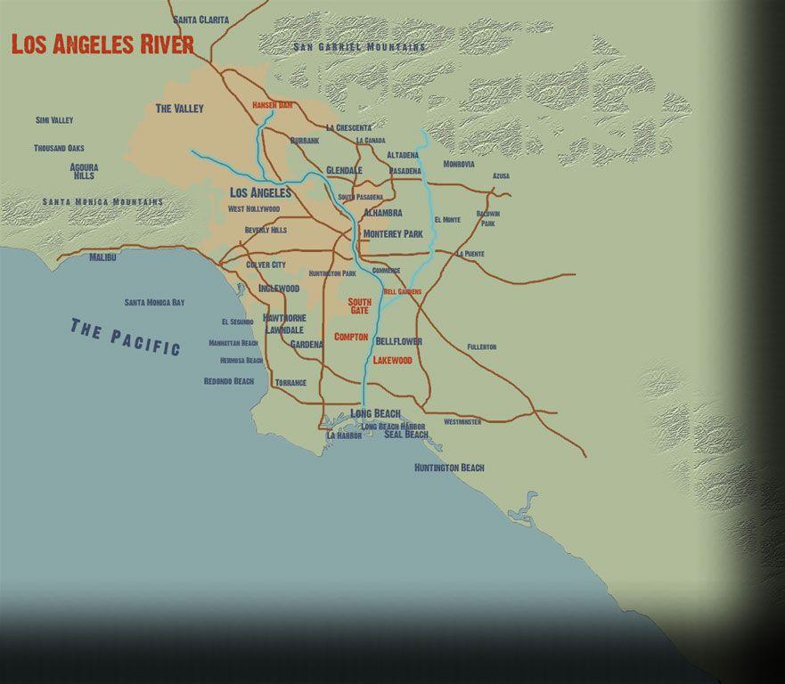 LA River Los Angeles River Map Water Pinterest Los Angeles - Los angeles river map