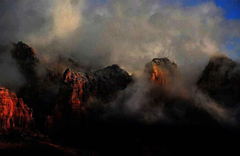 Fog hovers between the iconic red  Arizona Highways January 3 2017  Fog hovers between the iconic red Arizona Highways January 3 2017  Fog hovers between the iconic red...