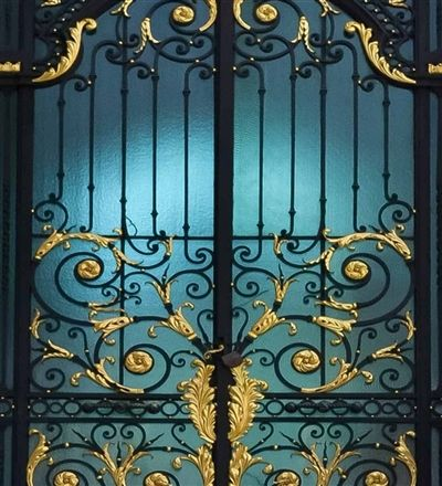 Black And Gold Gates Gold Gate Wrought Iron Gates Iron Entry Doors