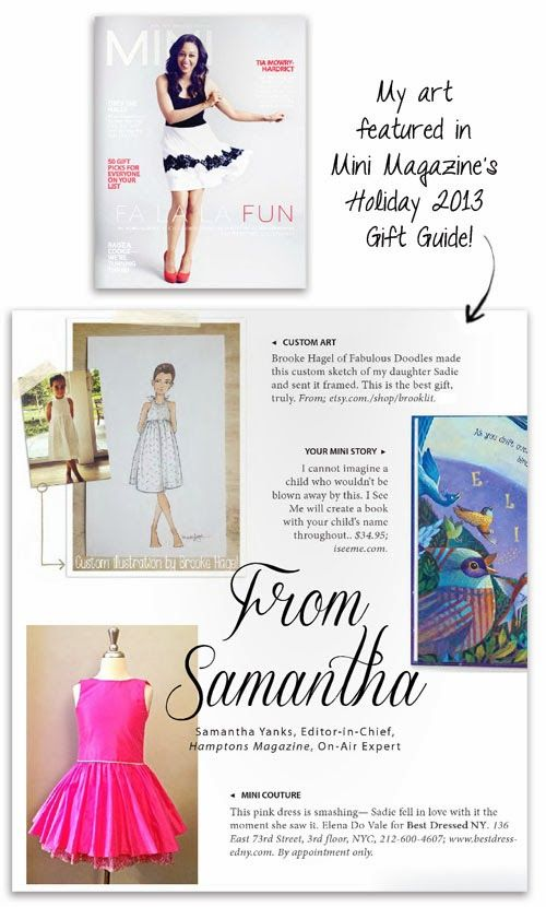Press! Mini Magazine 2013 Holiday Gift Guide featuring my custom sketches!