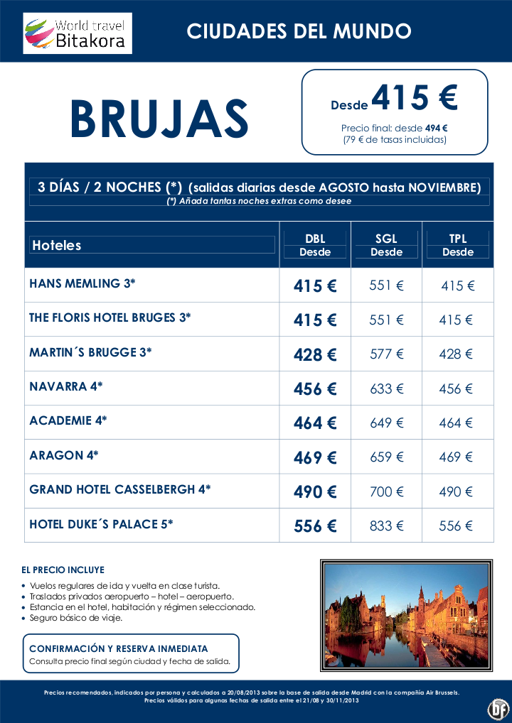 Ciudades del mundo: Brujas, 3 días / 2 noches, desde 415 € + tasas - http://zocotours.com/ciudades-del-mundo-brujas-3-dias-2-noches-desde-415-e-tasas/