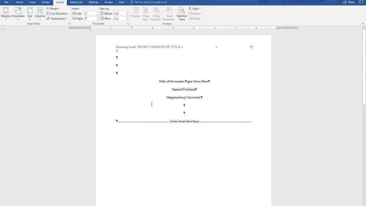 Apa Style 6th Ed Title Page Running Head Abstract And Section Headings For Apa Word Template 6th Edition Cumed Word Template Template Word Apa Template