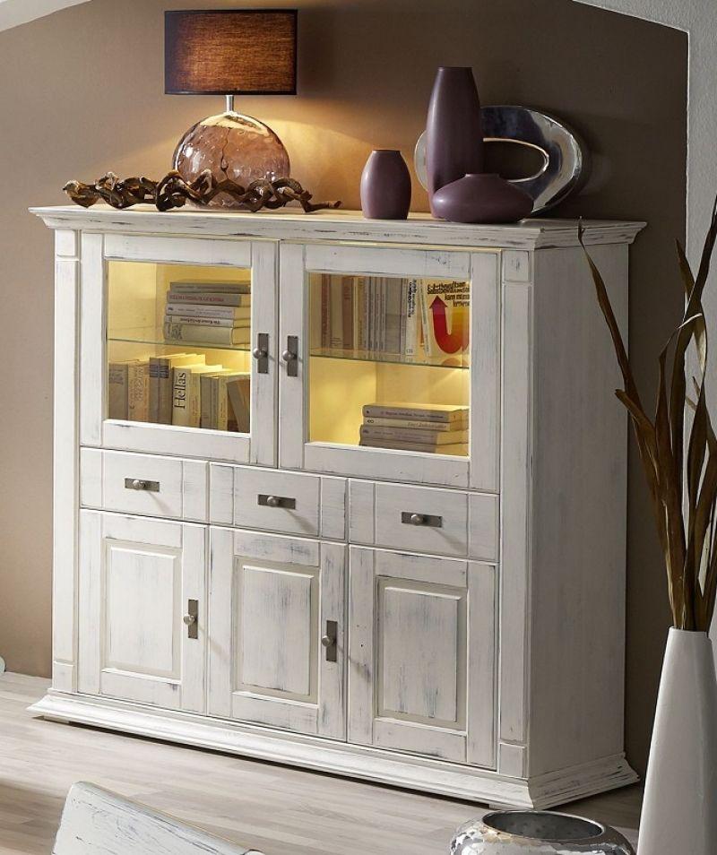 CORSICA Highboard #308 Kiefer massiv weiß-vintage lackiert - küche kiefer massiv
