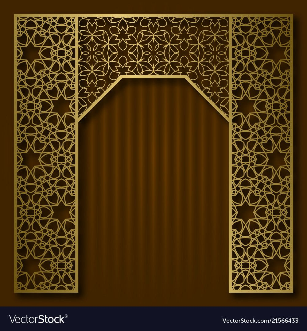 Traditional Background Golden Arched Frame Vector Image Islamic Wall Art Islamic Wallpaper Arabian Decor