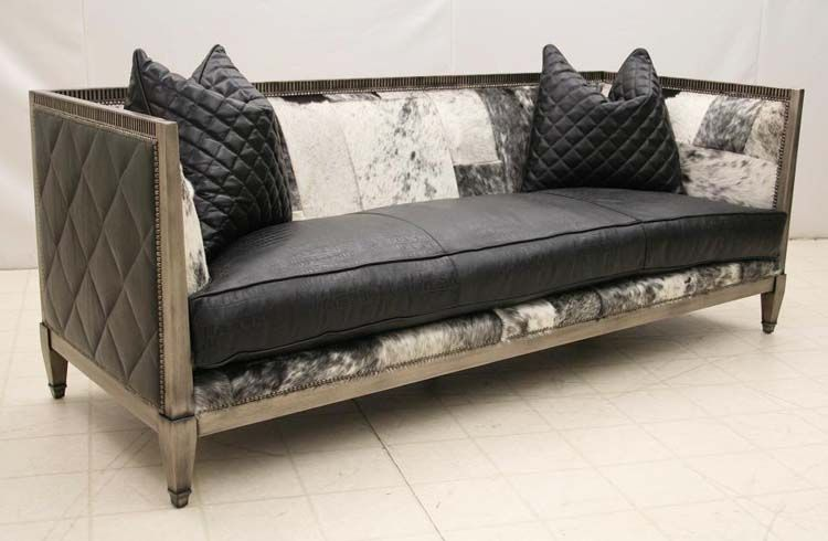 Old Hickory Tannery Black Saddle Leather Sofa Western Sofas And Loveseats Contemporary Style In Weathered Revealing