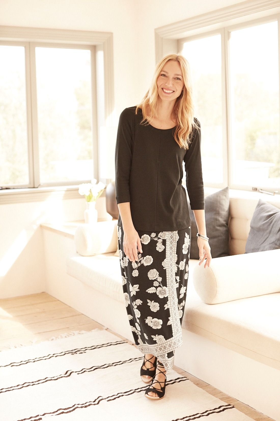 A new direction for black and white (featuring J.Jill's Printed Wrap-Style Knit Maxi Skirt)