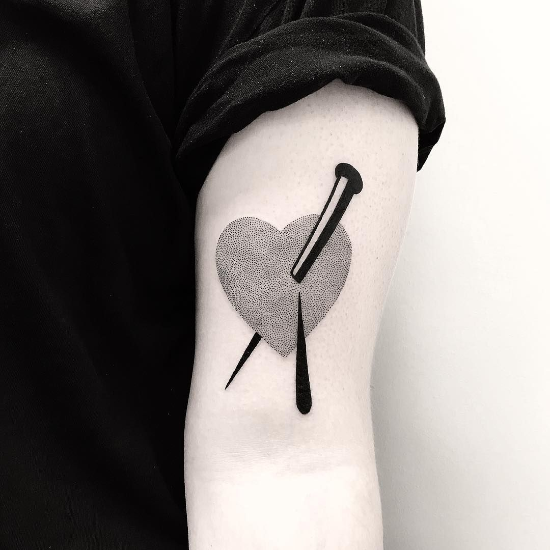 Nail Pierced Heart Tattoo By Pulled Poltergeist Simple Tattoos