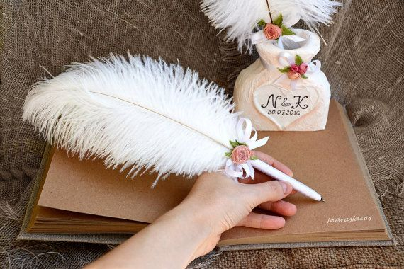 Shabby Chic Wedding Guest Book And Pen Holder 84 00