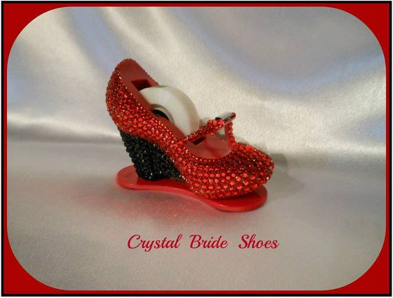 High heel red shoe tape dispenser, fully customised with red and black crystals. on Etsy, $28.30 CAD