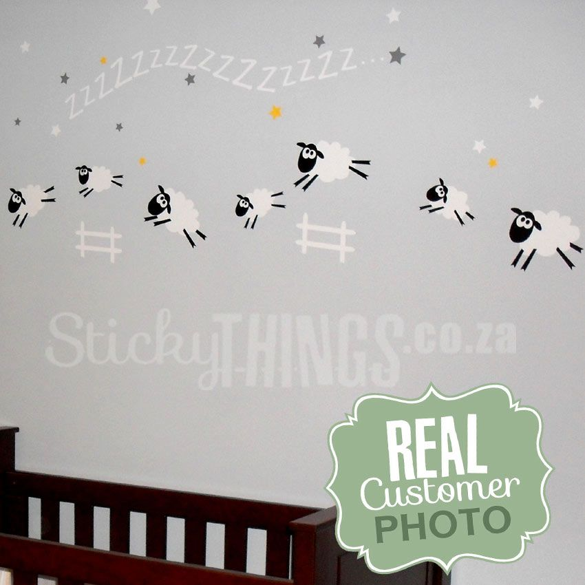 www.stickythings.co.za our sleep sheep baby room wall sticker is a