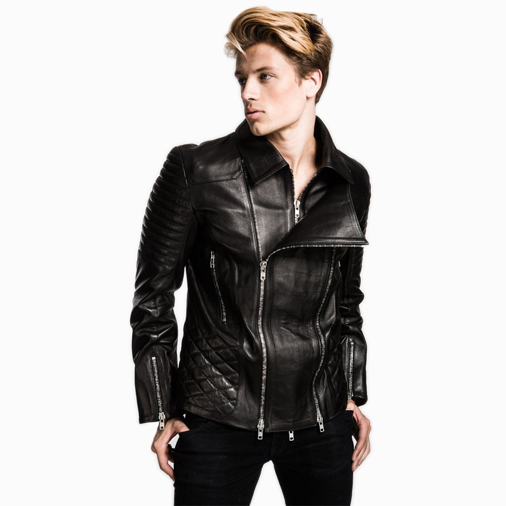 Mens Iconic Luxury Double Zipped Biker Jacket Jackets Biker Jacket Leather Jacket