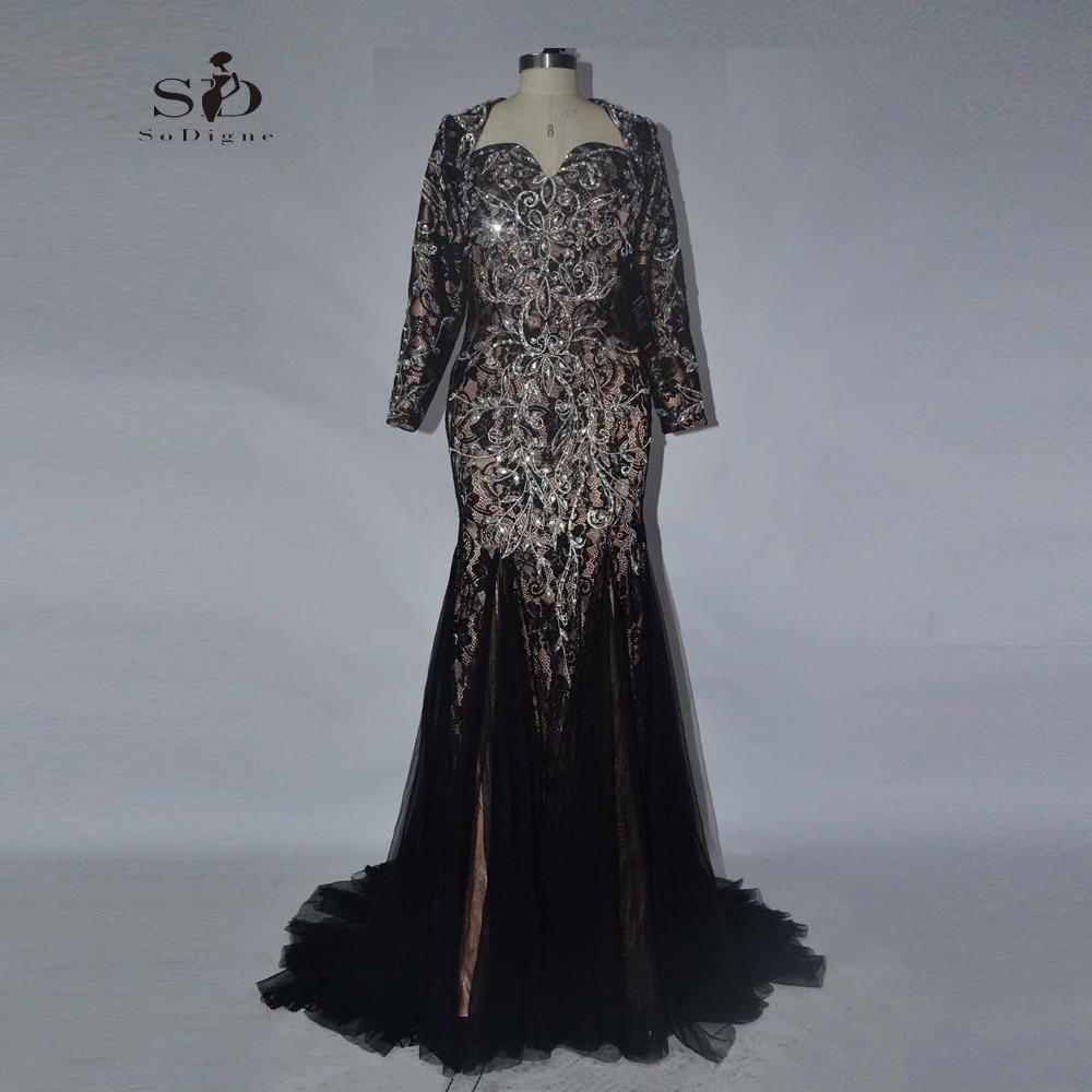 Evening black dress sodigne long elegant dresses long sleeve