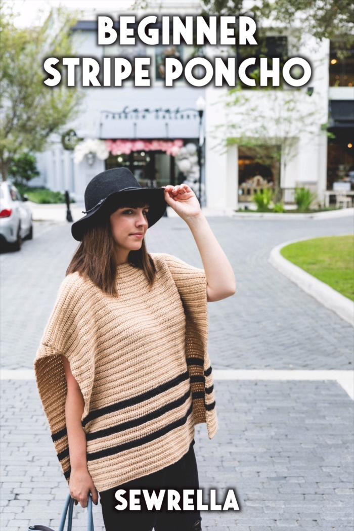 Photo of Crochet Beginner Stripe Poncho