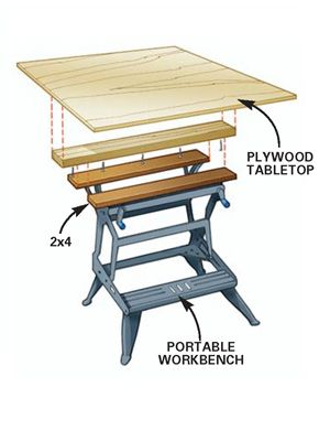 Diy Tip Of The Day Extended Portable Workbench If You Like Your