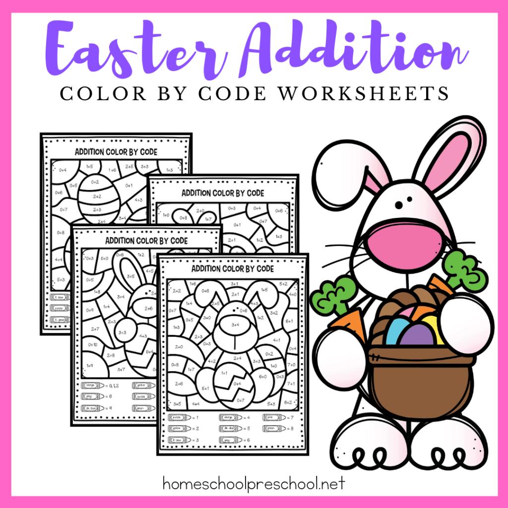 Easter Addition Worksheets For Kindergarten