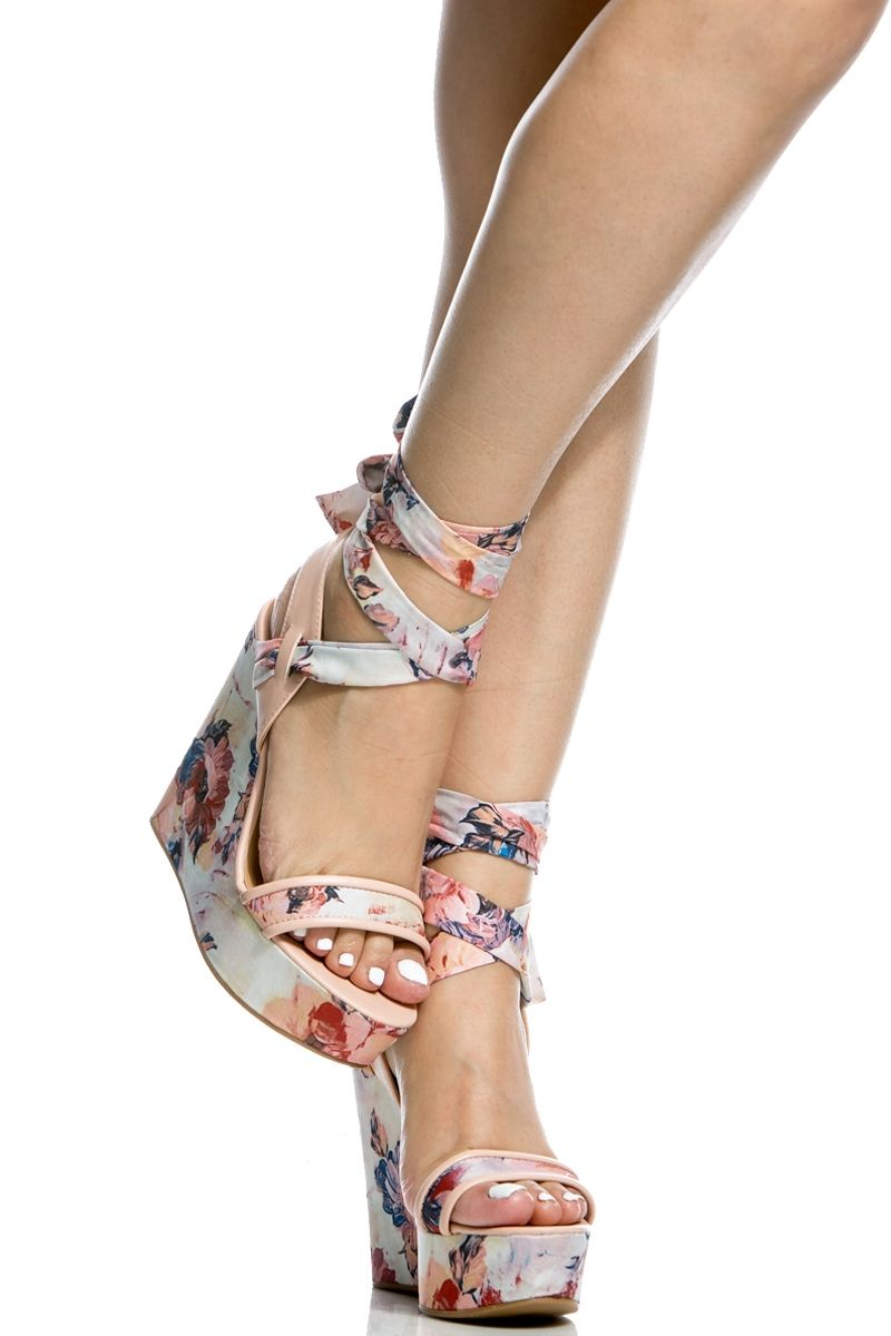 6b5eaa99e10 Blush Faux Leather Multi Print Wrap Around Wedges   Cicihot Wedges Shoes  Store Wedge Shoes