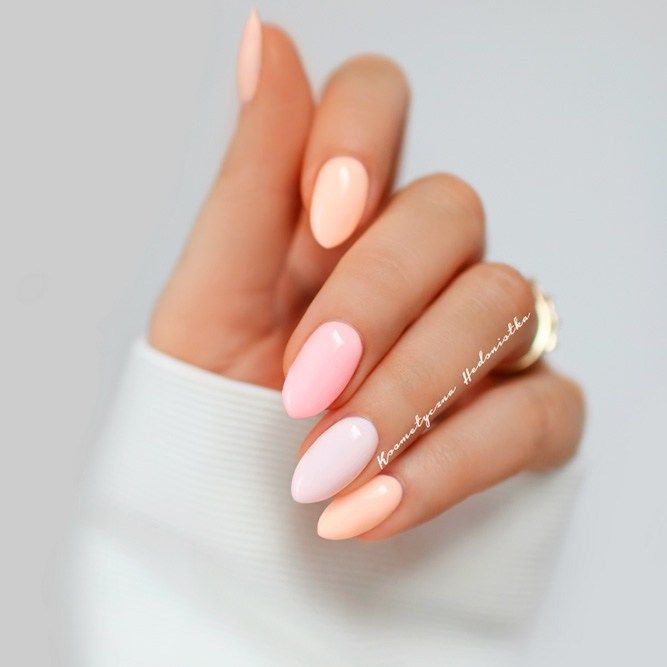 Exquisite Pastel Color Nails To Freshen Up Your Look: Peach Pastel Colors  Nails Designs #peach; #pastel; #nails; #nailart - Exquisite Pastel Color Nails To Freshen Up Your Look Nailed It