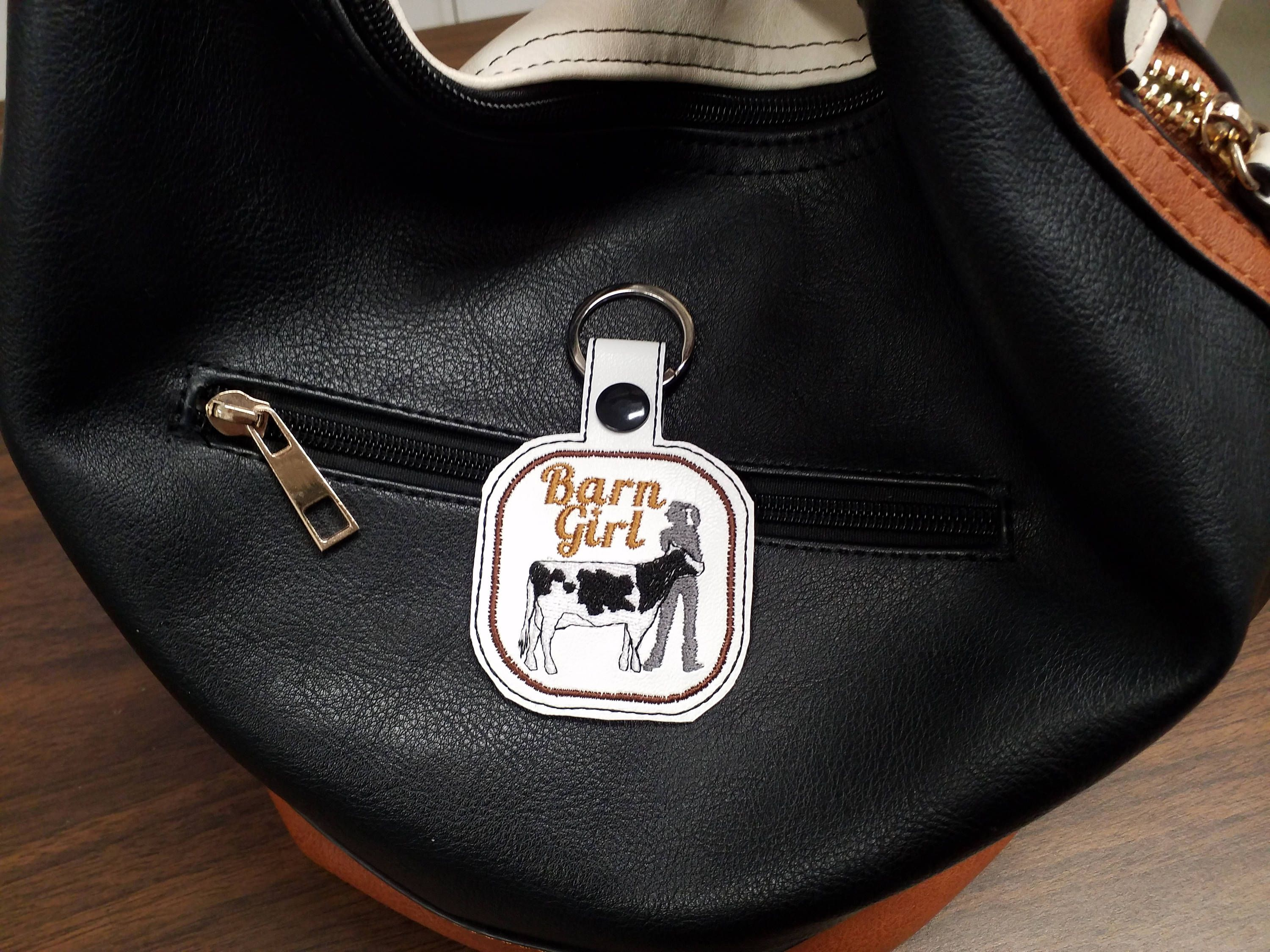 Cow In The Hoop Snap Tab Embroidery Key Tag Design