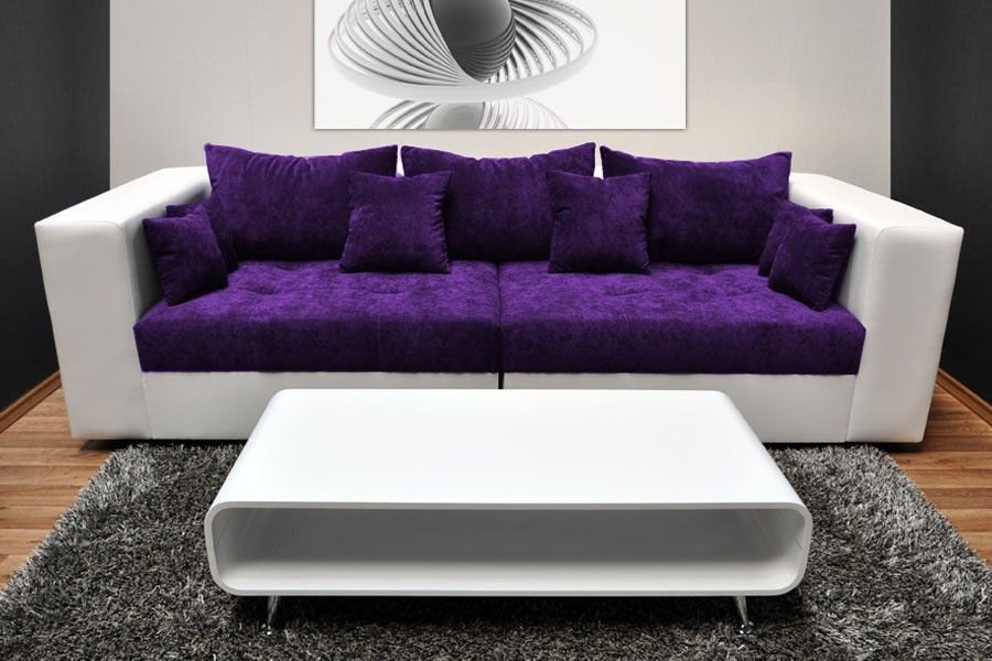 Fabulous White Purple Big Sofas Modern Coffee Table Grey Rug Combined With  Bright Coffee Table In Beautiful Living Room Design